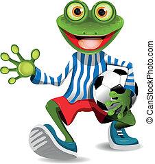 giocatore, football, rana