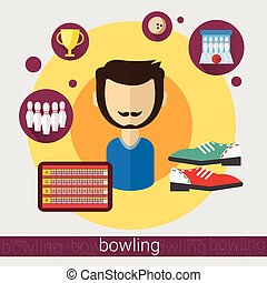 giocatore, gioco, icona, bowling, uomo