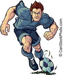 giocatore, gocciolamento, calcio, tenace
