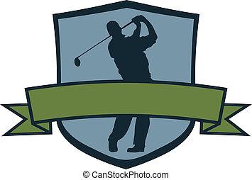 giocatore, golf, cresta