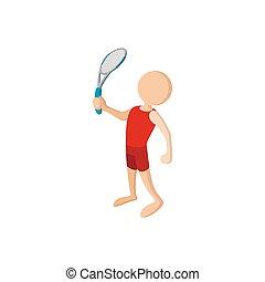 giocatore, icona, tennis, cartone animato