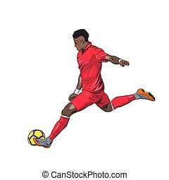 giocatore, isolato, illustrazione, calciare, vettore, jersey, palla calcio, rosso