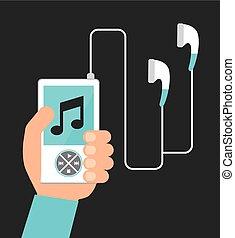 giocatore, musica, mp3