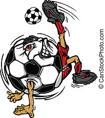 giocatore, palla calcio, cartone animato, football