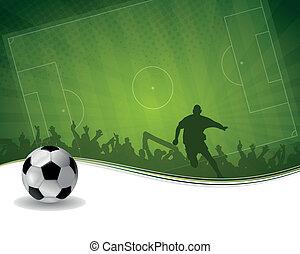 giocatore, palla calcio, fondo