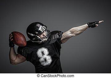 giocatore, palla football, americano