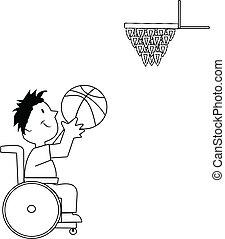 giocatore, pallacanestro sedia rotelle