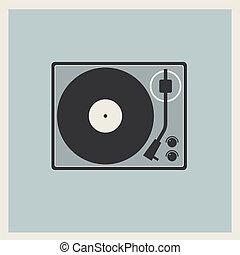 giocatore, piattaforma girevole, vinile, retro, disco