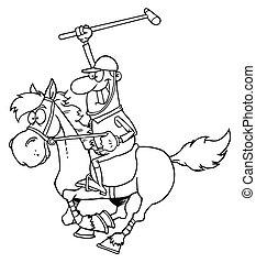 giocatore polo, contorno, cartone animato