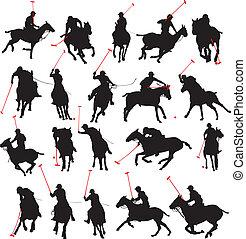 giocatore polo, silhouette, dettagli, 20
