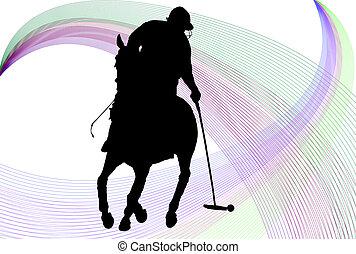 giocatore polo, silhouette, ov