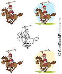 giocatore polo, tenere, uno, bastone
