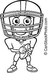 giocatore, ragazzo, football, coloritura, pagina