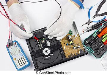 giocatore, riparazione, moderno, dvd