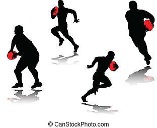 giocatore rugby, con, uggia, -, vettore