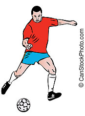 giocatore, schizzo, palla, atleta, football