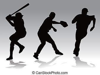 giocatore, silhouette, baseball