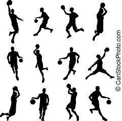 giocatore, silhouette, basketballl