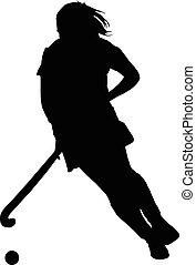 giocatore, silhouette, ragazza, signore, palla, gocciolamento, hockey