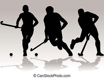 giocatore, silhouette, vettore, hockey
