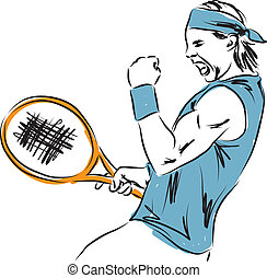 giocatore, tennis, illustrazione