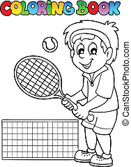 giocatore, tennis, libro colorante, cartone animato