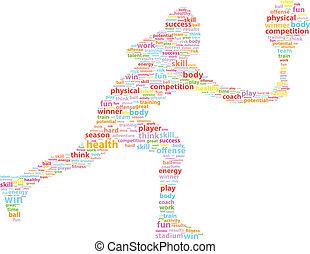 giocatore, tennis, parola, nuvola, sport