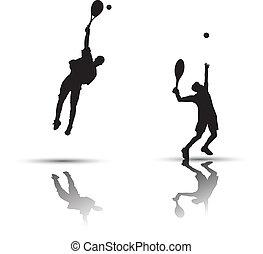 giocatore, tennis, silhouette