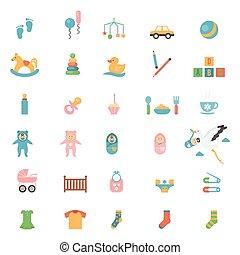 giocattoli, bambini, icone