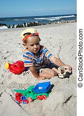 giocattoli, spiaggia, gioco, bambino