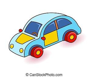 giocattolo, automobile., cartone animato, vettore, illustration.