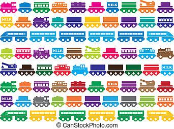 giocattolo, bambini, treno legno