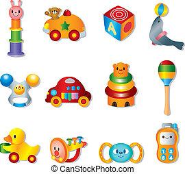 giocattolo bambino, icons., vettore, giocattoli