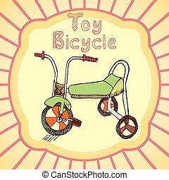 giocattolo, bicicletta, colorato, mano, dr, cartone animato