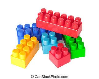 giocattolo, colorare, mattoni, bianco, fondo