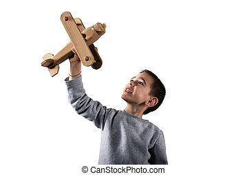 giocattolo, giochi, legno, isolato, aeroplano., fondo, bianco, capretto