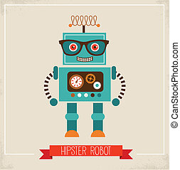 giocattolo, hipster, robot, icona