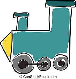 giocattolo, illustration., colorare, treno, blue-colored, o, vettore, motore, locomotiva