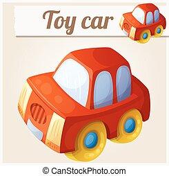 giocattolo, illustrazione, vettore, automobile., cartone animato, rosso