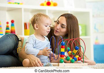 giocattolo istruttivo, gioco, madre, bambino