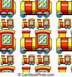 giocattolo, modello, seamless, treno, piastrella, cartone animato