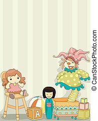 giocattolo, pagliaccio, e, bambole, fondo
