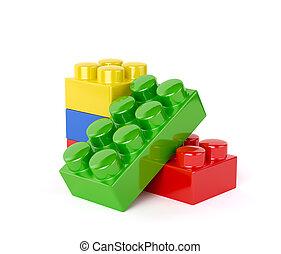 giocattolo plastica, blocchi, isolato