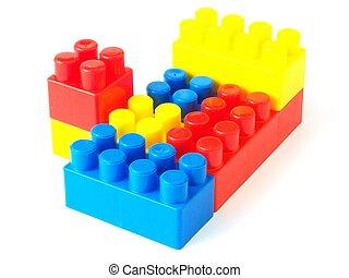 giocattolo plastica, mattoni