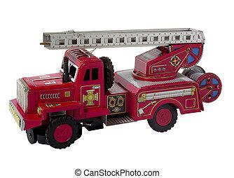 giocattolo, raro, fuoco, vendemmia, isolato, camion, bianco