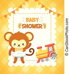 giocattolo, scimmia, doccia, treno, bambino, scheda