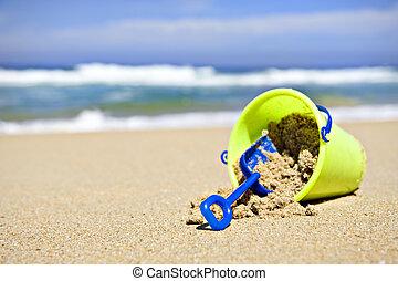 giocattolo, secchio, e, pala, spiaggia