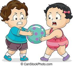 giocattolo, sopra, combattimento, bambini primi passi, bambini, illustrazione