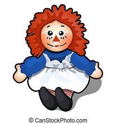 giocattolo, tessuto, forma, isolato, capelli, fondo., vettore, arancia, bianco, uomo, illustration.
