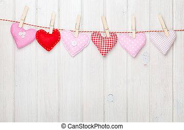 giocattolo, valentines, corda, appendere, cuori, giorno